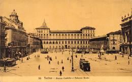 """1318 """" TORINO - PIAZZA CASTELLO E PALAZZO REALE -  TRAM PER CORSO VINZAGLIO E ALTRI""""  CART. POST.  ANIMATA OR.  SPED. - Palazzo Reale"""