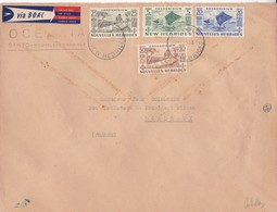 ENVELOPE VIA B.O.A.C. NEW HEBRIDES STAMP & NOUVELLE HEBRIDES STAMP 3 COLOURS CIRCULEE TO FRANCE 1953- BLEUP - English Legend
