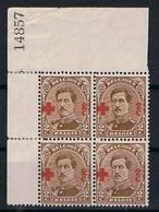 Belgie OCB 151 (**) In Blok Van 4 - 1918 Croix-Rouge