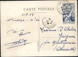 Entier Carte Postale Tout Droit Les éclaireurs De France Storch S1 40 + 60 Bleu CAD Limoges RP 14  3 7 1939 Voyagée - Entiers Postaux