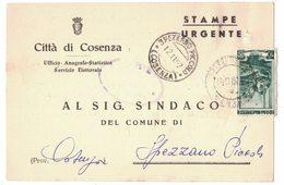 QS164    Città Di Cosenza Stampe Urgente X Spezzano Piccolo Italia Lavoro £.10 Isolato 1952 - 6. 1946-.. Repubblica