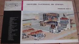 AFFICHE ANCIENNE ORIGINALE CENTRALE NUCLEAIRE DE CHINON PLAN TRANCHE EDF 3 - 60 X 95 ATOMIQUE - Affiches