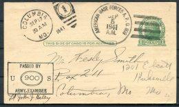 1941 Greenland USA 'American Base Forcs A.P.O. 809' Stationey Postcard Censor - Greenland