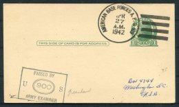 1942 Greenland USA 'American Base Forcs A.P.O. 809' Stationey Postcard Censor - Greenland