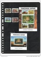 TANZANIA,2007,SAFARI, LIONS,BUFFALO,ELEPHANTS,Z EBRAS, ETC, 4v+SHEETLET+ S/SHEET, MNH - Big Cats (cats Of Prey)
