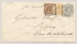 Nederlands Indië - 1896 - 12,5 Cent Willem III, Envelop G7 Met Bijfrankering Hangend Haar En Cijfer En VK Cheribon - Nederlands-Indië