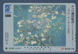 Ticket De Métro Du Japon, 5000, Illustration Tableau Van Gogh, Amandier En Fleurs, - Métro