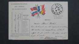 Carte Franchise Militaire N° 3C Brest Finistère 1914 - Marcophilie (Lettres)
