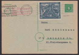 SBZ Schwerin Mecklenburg 6 Pf GA-Karte Außer Kurs Mit 12+8 Pfg Messe Frankiert - Portorichtig 10.12.50, Mi 240 EF - Zone Soviétique