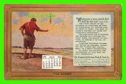 ART PEINTURE - THE SHOWER , ORIGINAL BY L. R. MARTS - CALENDRIER AVRIL 1913 - CIRCULÉE EN 1913 - - Peintures & Tableaux