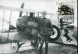 38470 Italia Maximum 2015, Prima Guerra Mondiale, First WW,showing Francesco Baracca With His Plane, Postmark Nervesa - WW1