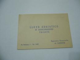 BIGLIETTO DA VISITA LLOYD ADRIATICO ASSICURAZIONI DI TRIESTE AGENZIA DI   VARESE. - Visiting Cards