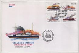 TURQUIE,TURKEI ,TURKEY ,MERCHANT SHIPS  2000  FDC - 1921-... République
