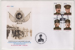 TURQUIE,TURKEI ,TURKEY ,COMMANDERS OF THE TURKISH WAR OF INDEPENDENCE  2000  FDC - 1921-... République