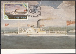 756c S. Tomé E Principe 1984 Navi A Vapore Maximum Card ALIDA (1847) Steamers Maxi - Sao Tomé E Principe