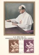 Vatican City 1965 Maxicard Scott #416, #419 Pope Paul VI Addressing United Nations Assembly - Cartes-Maximum (CM)
