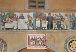 Vatican City 1960 Maxicard Scott #284 Feeding The Hungry 'Acts Of Mercy' By Della Robbia - Cartes-Maximum (CM)