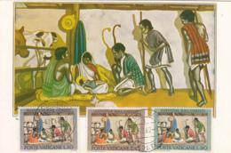 Vatican City 1962 Maxicard Scott #353-#355 Nativity Scene In India Christmas - Cartes-Maximum (CM)