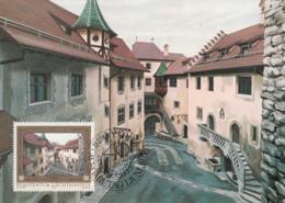 Liechtenstein 1976 Maxicard Scott #651 50rp Courtyard Prince Franz Joseph II 40th Anniversary - Cartes-Maximum (CM)