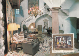 Liechtenstein 1976 Maxicard Scott #652 70rp Staircase Prince Franz Joseph II 40th Anniversary - Cartes-Maximum (CM)