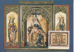Liechtenstein 1976 Maxicard Scott #653 80rp Triptych From High Altar Prince Franz Joseph II 40th Anniversary - Cartes-Maximum (CM)