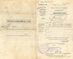 RECRUTEMENT CLASSE 1907 CONVOCATION  SOLDAT HENRIOT GABRIEL CACHET VILLE DE PARIS - Documents