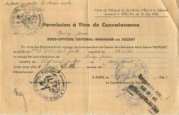 PERMISSION A TITRE DE CONVALESCENCE CENTRE DE LIBERATION DES PRISONNIERS DUPLEIX - Documents