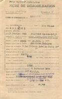 FICHE DE DEMOBILISATION CENTRE DE DUPLEIX  LIBERE PAR LES ALLIES LE 18 MAI 1945 - Documents