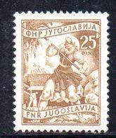 T293 - YUGOSLAVIA 1951 , Lavoro 25 D. Unificato 594A Linguella *  Senza Firma - 1945-1992 République Fédérative Populaire De Yougoslavie
