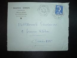 DEVANT TP M. DE MULLER 20F OBL. HEXAGONALE Tiretée 30-9 1958 MONTENDRE CP N°8 CHARENTE (16) GASTON SIMON - Bolli Manuali