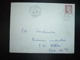 DEVANT TP M. DE DECARIS 0,25 OBL. HEXAGONALE Tiretée 15-10 1954 SAINTES CP N°2 CHARENTE MME (17) - Bolli Manuali
