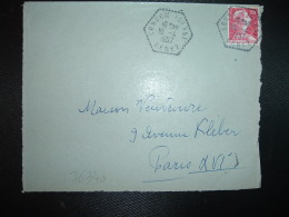 DEVANT TP M. DE MULLER 15F OBL. HEXAGONALE Tiretée 10-4 1957 CONDOM (GERS) CP N°2 (32) - Handstempels