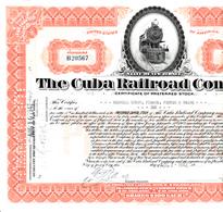 Certificate The Cuba RailRoad Company, Stati Uniti New Jersey 1942 - Chemin De Fer & Tramway