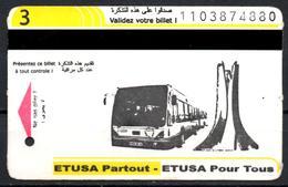 1 Ticket Transport Algeria Bus Algiers Alger - Biglietto Dell'autobus Elections 1 Billete De Autobús 1 Busticket Tickets - Bus