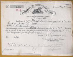Dog.Hund.Koira.Chien.Rare Receipt The Fidelidade Insurance Company,1910.400 Réis.Seltener Beleg Der Fidelidade-Versicher - Animaux