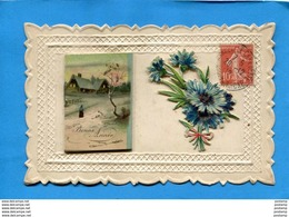 SUPERBE-petit Calendrier 1913- Sur Cpa Ornée De Découpis Floraux-a Voyagé 29 Dec 1912 - Petit Format : 1901-20