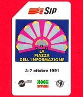 ITALIA - Scheda Telefonica - SIP - Usata - Smau 1991 - OCR Piccolo - Golden 136B - C&C 2193 B - Italie