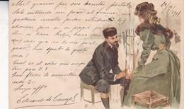 CARTE POSTALE MOTIF ROMANTIQUE, COUPLE. EDUARDO DE CAMPS SIGNEE.  CIRCULEE SPAIN CIRCA 1901 - BLEUP - Koppels