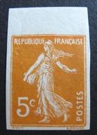 R1692/6 - 1921 - TYPE SEMEUSE - NON DENTELE - N°158I BdF NEUF** - France
