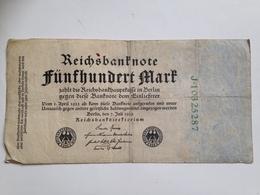 Billete Alemania. 500 Marcos. 7-7-1922 - [ 3] 1918-1933 : República De Weimar