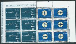 Italia 1965; Rete Aerea Postale Notturna, Serie Completa. Blocchi D' Angolo Di 6 Valori. - 6. 1946-.. Repubblica