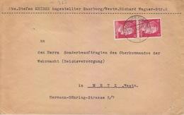 Lettre De Sarrebourg (T 329 Saarburg Wertm F) TP Reich 12pfx2=2°éch Le 29/7/42 Pour Metz - Postmark Collection (Covers)