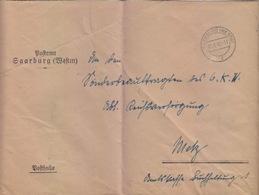 Lettre à Entête De Sarrebourg (T 329 Saarburg Wertm F) En Franchise Le 3/8/42 Pour Metz - Postmark Collection (Covers)