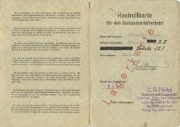 KONTROLLKARTE FUR DEN AUSLANDSBRIEFVERKEHR  1944 - Documents