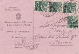 STORIA POSTALE - AVVISO DI RICEVIMENTO O DI PAGAMENTO - BRESCIA - 6. 1946-.. Repubblica