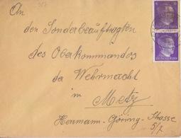 Lettre De Sarrebourg (T 329 Saarburg Wertm F) TP 6pfx2=1°éch Le 11/9/42 Pour Metz - Postmark Collection (Covers)