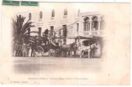 CPA ALGERIE.HAMMAM R'HIRA.DILLIGENCE DEVANT GRAND HOTEL - Argelia