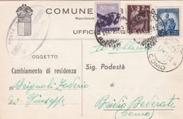 CARTOLINA POSTALE - COMUNE DI BERGAMO - UFFICIO ANAGRAFE - 6. 1946-.. Repubblica