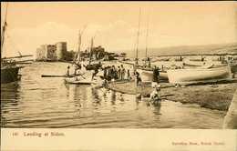 Liban Lebanon ~ LANDING AT SIDON ~ Sarrafian Postcard 13959 - Liban