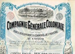 Action Ancienne - Compagnie Générale Coloniale - Titre De 1898 - Déco N°09504 - Afrique